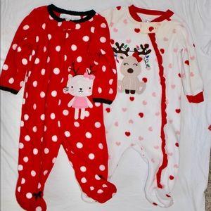 Fleece Christmas footed pajamas